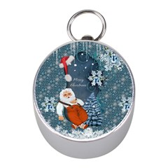 Funny Santa Claus With Snowman Mini Silver Compasses by FantasyWorld7