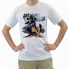 Navy Anchor s Aweigh Pinup Girl Men s T Shirt (white) (two Sided) by allthingseveryday
