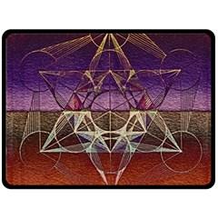 Cube Of Metatrone Diamond Fleece Blanket (large)  by Cveti