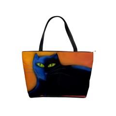 Black Cat Large Shoulder Bag Shoulder Handbags by paintedpurses