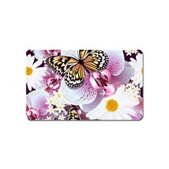 Butterflies With White And Purple Flowers  Magnet (name Card) by allthingseveryday