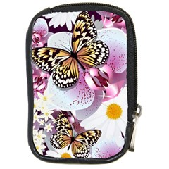 Butterflies With White And Purple Flowers  Compact Camera Cases by allthingseveryday