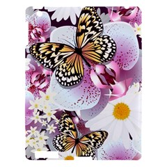 Butterflies With White And Purple Flowers  Apple Ipad 3/4 Hardshell Case by allthingseveryday