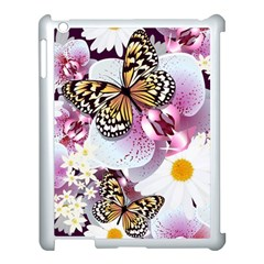 Butterflies With White And Purple Flowers  Apple Ipad 3/4 Case (white) by allthingseveryday