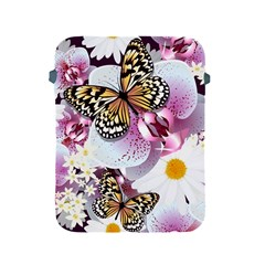 Butterflies With White And Purple Flowers  Apple Ipad 2/3/4 Protective Soft Cases by allthingseveryday