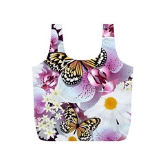 Butterflies With White And Purple Flowers  Full Print Recycle Bags (s)  by allthingseveryday