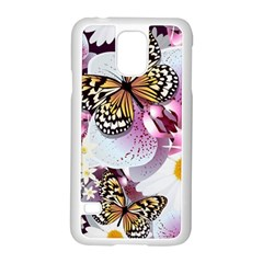 Butterflies With White And Purple Flowers  Samsung Galaxy S5 Case (white) by allthingseveryday