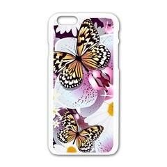 Butterflies With White And Purple Flowers  Apple Iphone 6/6s White Enamel Case by allthingseveryday
