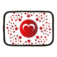 Monogram Heart Pattern Love Red Netbook Case (medium)  by Celenk