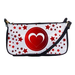 Monogram Heart Pattern Love Red Shoulder Clutch Bags by Celenk