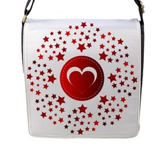 Monogram Heart Pattern Love Red Flap Messenger Bag (l)  by Celenk