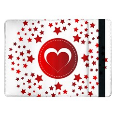 Monogram Heart Pattern Love Red Samsung Galaxy Tab Pro 12 2  Flip Case by Celenk