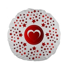 Monogram Heart Pattern Love Red Standard 15  Premium Flano Round Cushions by Celenk