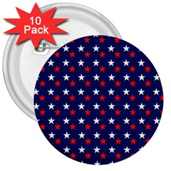 Patriotic Red White Blue Stars Blue Background 3  Buttons (10 Pack)  by Celenk