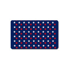 Patriotic Red White Blue Stars Blue Background Magnet (name Card) by Celenk