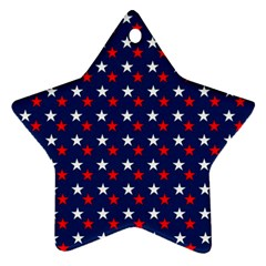 Patriotic Red White Blue Stars Blue Background Star Ornament (two Sides)