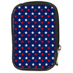 Patriotic Red White Blue Stars Blue Background Compact Camera Cases by Celenk