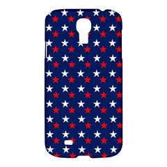 Patriotic Red White Blue Stars Blue Background Samsung Galaxy S4 I9500/i9505 Hardshell Case by Celenk