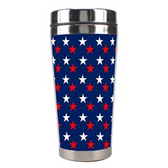 Patriotic Red White Blue Stars Blue Background Stainless Steel Travel Tumblers by Celenk