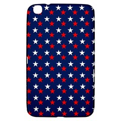 Patriotic Red White Blue Stars Blue Background Samsung Galaxy Tab 3 (8 ) T3100 Hardshell Case  by Celenk