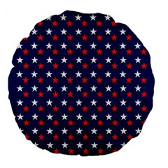 Patriotic Red White Blue Stars Blue Background Large 18  Premium Flano Round Cushions by Celenk