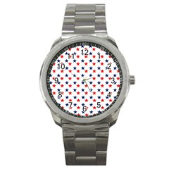 Patriotic Red White Blue Stars Usa Sport Metal Watch by Celenk
