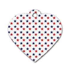 Patriotic Red White Blue Stars Usa Dog Tag Heart (one Side) by Celenk
