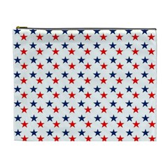 Patriotic Red White Blue Stars Usa Cosmetic Bag (xl) by Celenk