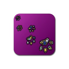 Footprints Paw Animal Track Foot Rubber Square Coaster (4 Pack)  by Celenk