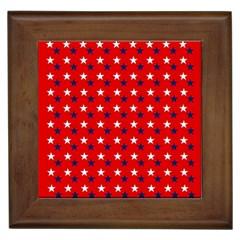 Patriotic Red White Blue Usa Framed Tiles by Celenk