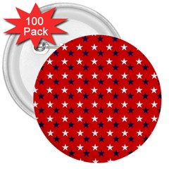 Patriotic Red White Blue Usa 3  Buttons (100 Pack)  by Celenk