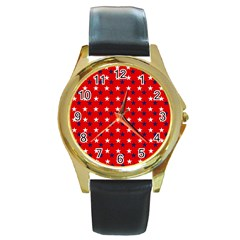 Patriotic Red White Blue Usa Round Gold Metal Watch by Celenk