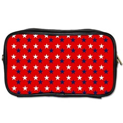 Patriotic Red White Blue Usa Toiletries Bags 2 Side by Celenk