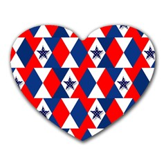 Patriotic Red White Blue 3d Stars Heart Mousepads by Celenk