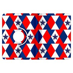 Patriotic Red White Blue 3d Stars Kindle Fire Hdx Flip 360 Case by Celenk