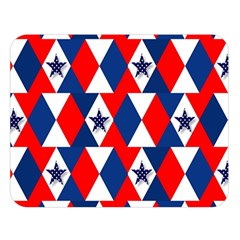 Patriotic Red White Blue 3d Stars Double Sided Flano Blanket (large)  by Celenk
