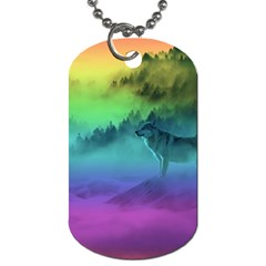 Yellowstone Wolfs Sunset Dog Tag (two Sides) by PodArtist