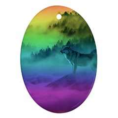 Yellowstone Wolfs Sunset Oval Ornament (two Sides) by PodArtist