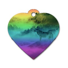 Yellowstone Wolfs Sunset Dog Tag Heart (one Side) by PodArtist