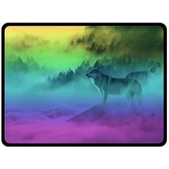 Yellowstone Wolfs Sunset Fleece Blanket (large)  by PodArtist