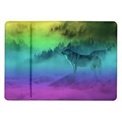 Yellowstone Wolfs Sunset Samsung Galaxy Tab 10 1  P7500 Flip Case by PodArtist
