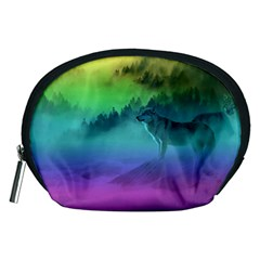 Yellowstone Wolfs Sunset Accessory Pouches (medium)  by PodArtist