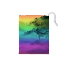 Yellowstone Wolfs Sunset Drawstring Pouches (small)  by PodArtist