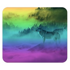 Yellowstone Wolfs Sunset Double Sided Flano Blanket (small)  by PodArtist