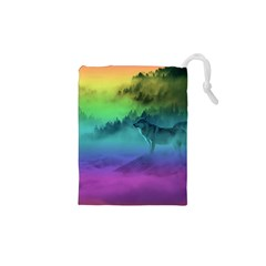 Yellowstone Wolfs Sunset Drawstring Pouches (xs)  by PodArtist