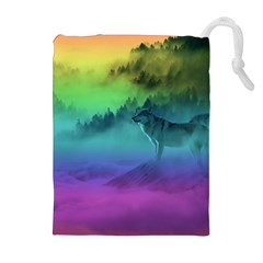 Yellowstone Wolfs Sunset Drawstring Pouches (extra Large) by PodArtist