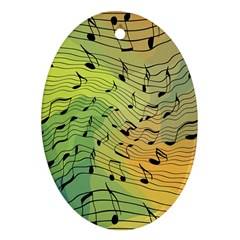 Music Notes Oval Ornament (two Sides) by linceazul