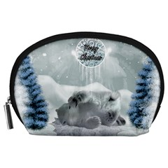 Cute Polar Bear Baby, Merry Christmas Accessory Pouches (large)  by FantasyWorld7