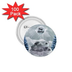 Cute Polar Bear Baby, Merry Christmas 1 75  Buttons (100 Pack)  by FantasyWorld7