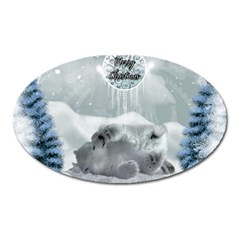 Cute Polar Bear Baby, Merry Christmas Oval Magnet by FantasyWorld7